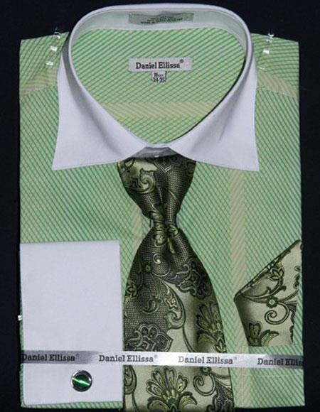 Men's Stripe Two Tone French Cuff 100% Cotton Apple Fashion Shirt with Tie & Hanky Set