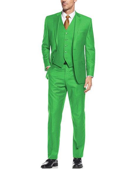 Mens  Lime Green ~ Apple   Vested 3 Piece Suit Flat Side Vented  2 button suits Notch Lapel