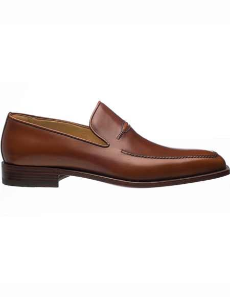 Ferrini Mens Italian Slip On Chocolate French Calfskin Apron Toe Stylish Dress Loafer