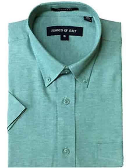 Aqua ~ Turquoise Color Basic Button Down Short Sleeve Summer Wear Oxford Mens Dress Shirt