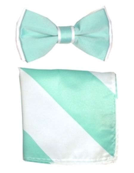 Mens Auqa / White Polyester Satin dual colors classic Bowtie with hankie