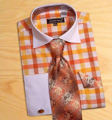 Buy AC-418 Avanti Uomo Orange / White Check Design Dress Fashion Shirt/ Tie / Hanky Set White Collar Two Toned Contrast Free Cufflinks