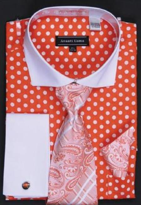 Buy AC-419 Avanti Uomo Orange Polka Dot Two Tone Design 100% Cotton Dress Fashion Shirt/ Tie / Hanky Set White Collar Two Toned Contrast Free Cufflinks