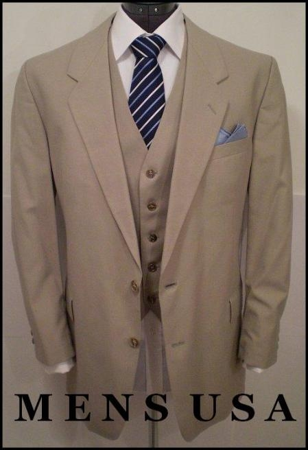 SKU# B3PC High Quality 2 Button Solid Tan ~ Beige Vested Suits 100% Wool Mens Suits On Sale