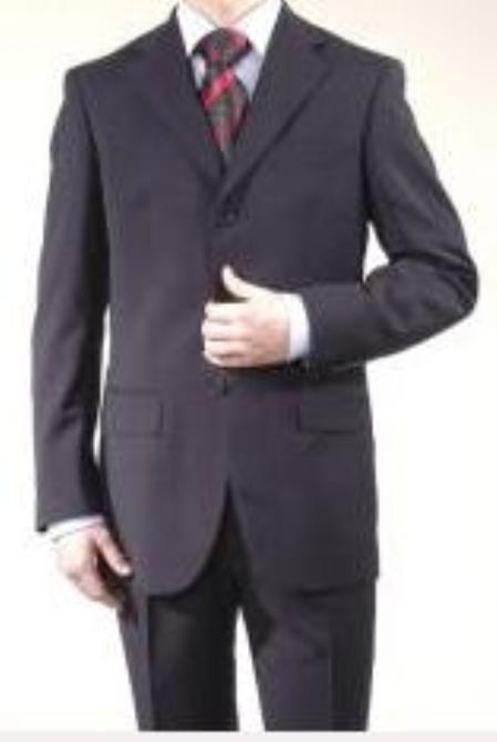 SKU# BMU3 Boys Solid Navy Blue Suits 3 Buttons super fine wool feel poly~rayon Blend Suit $79