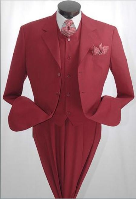 SKU#3TR3 BURGUNDY~Wine DRESS SUIT 3 Button 3 Pieces With Nice Cut Smooth Soft Fabric Mens Suits $139