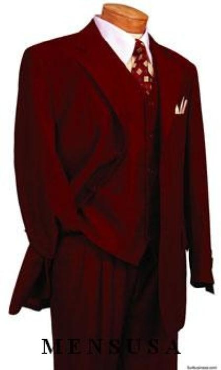 SKU# 398 Burgundy ~ Maroon ~ Wine Color DRESS three piece suit 3 Button 3 Pieces With Nice Cut Smooth Soft Fabric Mens Suits  $139