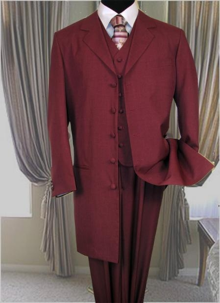 SKU# BLJ324 6498 BURGUNDY FASHION ZOOT SUIT 38INCH LONG JACKET WITH COVERED BUTTON. $125