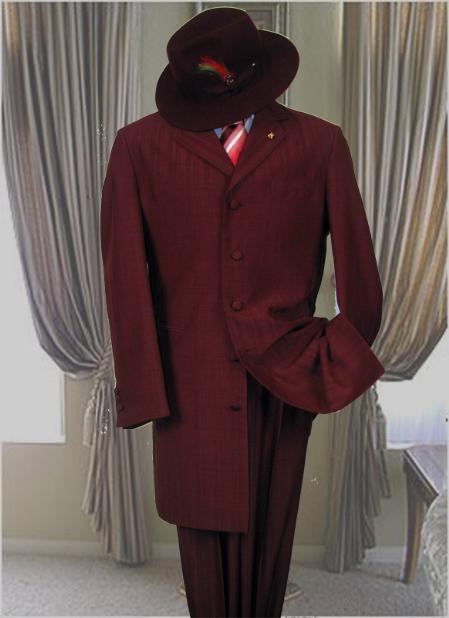 SKU#EV23 Burgundy ~ Maroon ~ Wine Color TONE ON TONE FASHION ZOOT SUIT $149