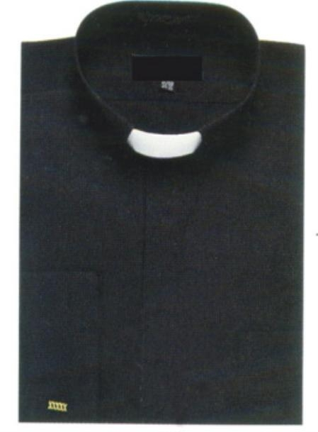SKU#HS637 Banded Collar Clergy Shirt
