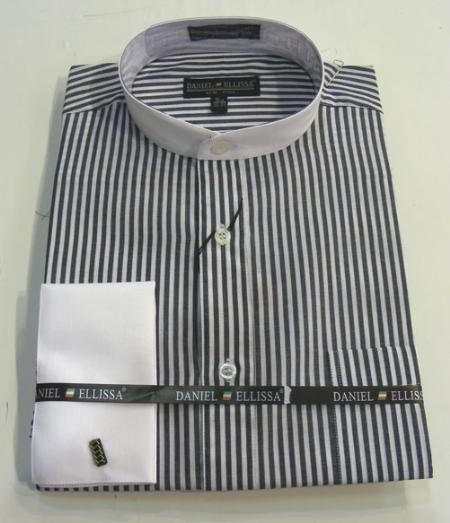 SKU#JC392 Banded Collar Shirt with French Cuffs