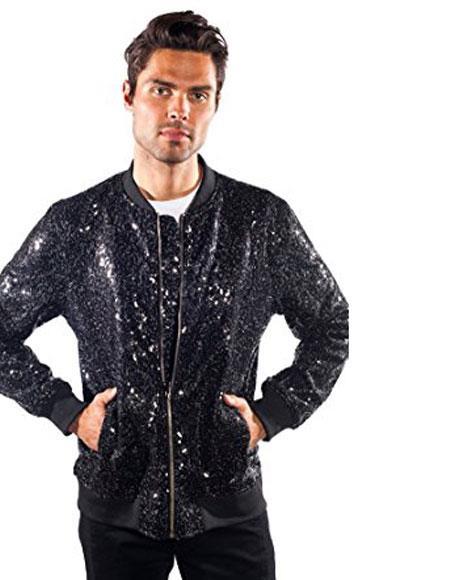 Men's Black Galm Shiny Sequin blazer