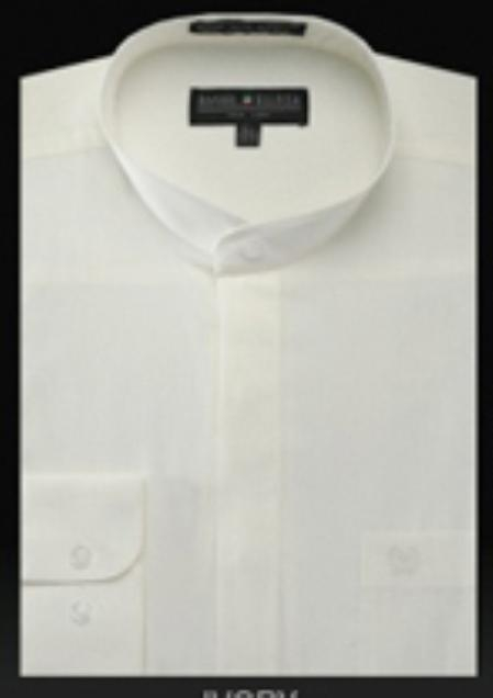 SKU#YX534 Basic Banded Collar dress shirts Mandarin Collarless Ivory