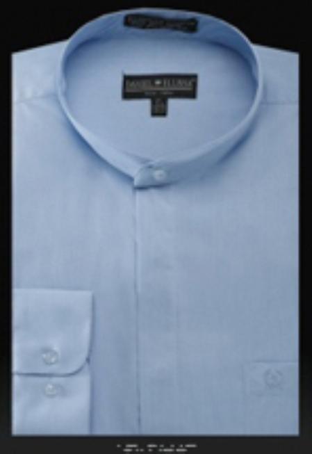 SKU#LB506 Basic Banded Collar Shirt Light Blue $39