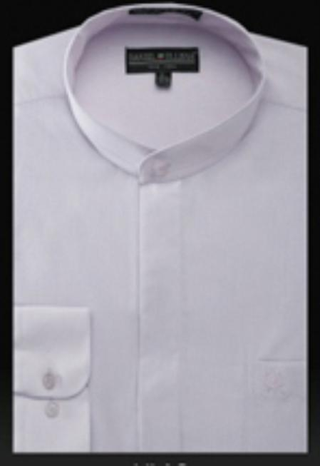 SKU#LL888 Basic Banded Collar dress shirts without collars Mandarin Collarless Lilac Lavender