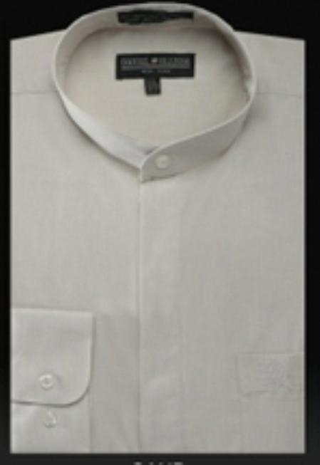SKU#TV535 Basic Banded Collar Shirt Sand $39