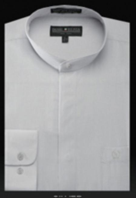 SKU#SL607 Basic Banded Collar dress shirts Mandarin Collarless Silver $65