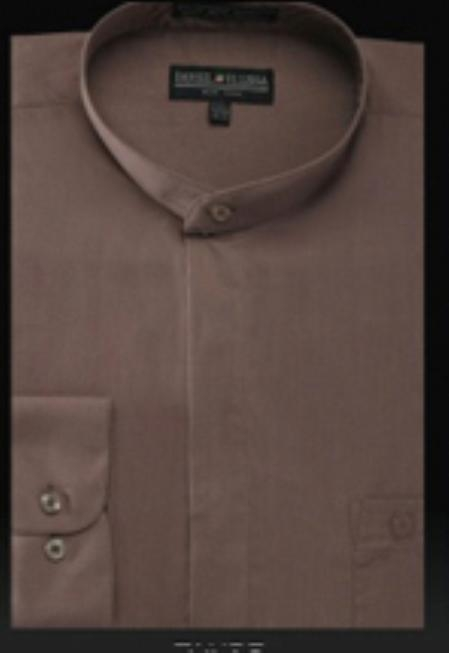 SKU#YX345 Basic Banded Collar Shirt Taupe $39