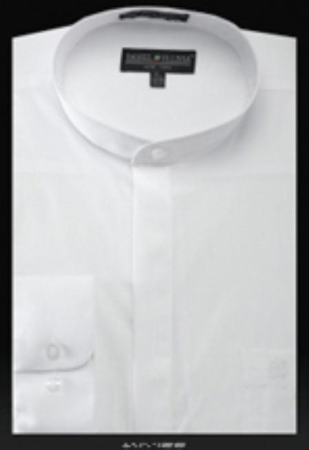 SKU#UB450 Basic Banded Collar dress shirts Mandarin Collarless White $49