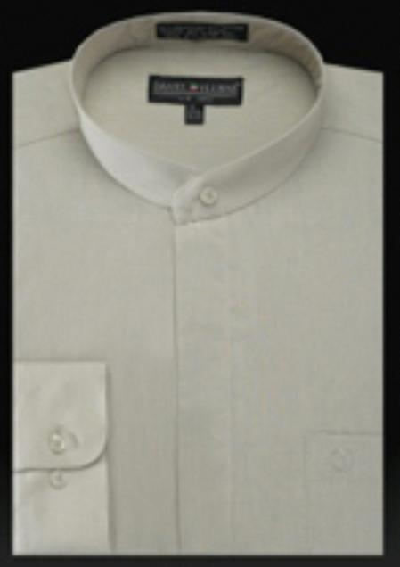 SKU#IV205 Basic Banded Collar Shirt Olive $65