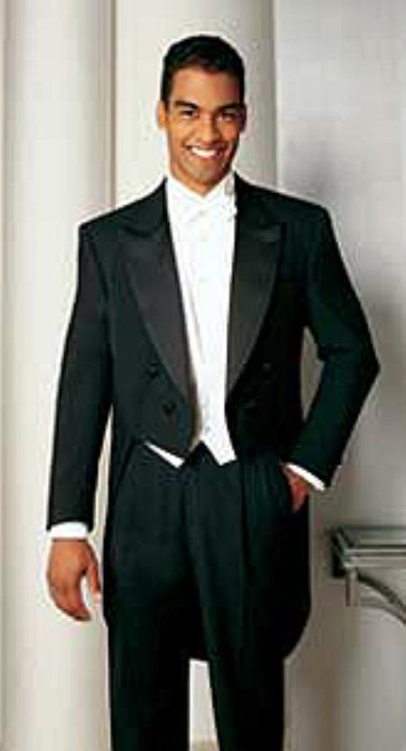 SKU#VS791 Basic Full Dress Black Tailcoat with Peak Lapel