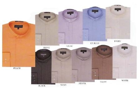 SKU#MK321 Basic banded collar dress shirt $49