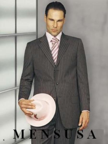 "SKU#RH_150s  Beatiful Mens Gray Suit w/pink shadow pinstripe 3 Button Suits ""Style Recently Featured $199"