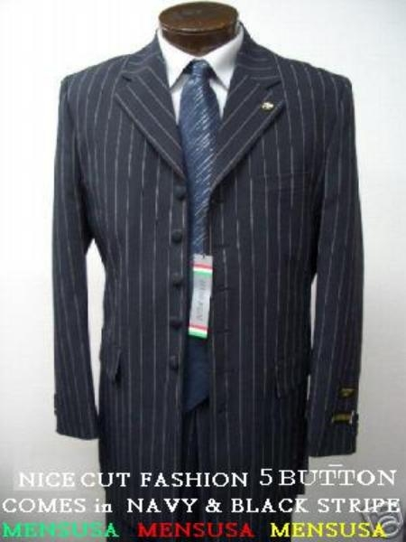 SKU# AXJ344 Beautiful 5 Button Black Pinstripe Suit  With Nice Cut Smooth Soft Fabric $139