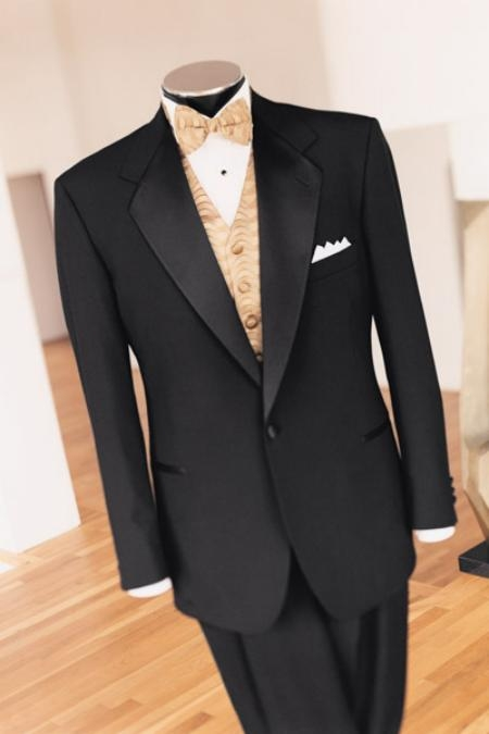 SKU# GT3K Beautiful Design  (5 Pieaces) One Button Super 150 Wool  + Shirt + Bow Tie + Vest $199