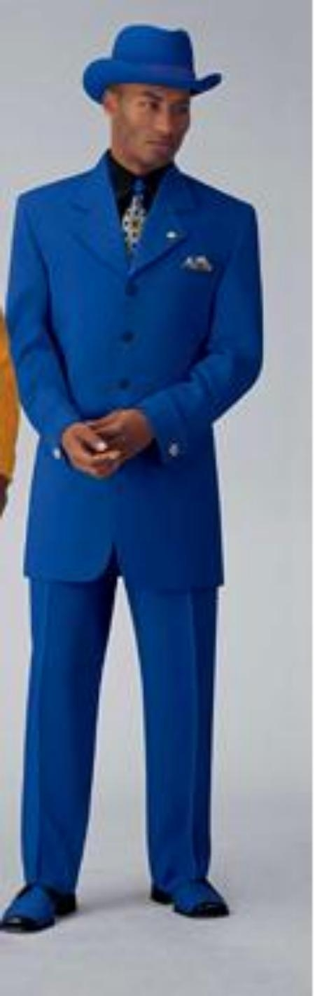 SKU# TNP797 Beautiful Mens Royal Blue Pastel Color 3 Button Style Jacket Plus Pants Dress With Nice Cut Smooth Soft Fabric $139
