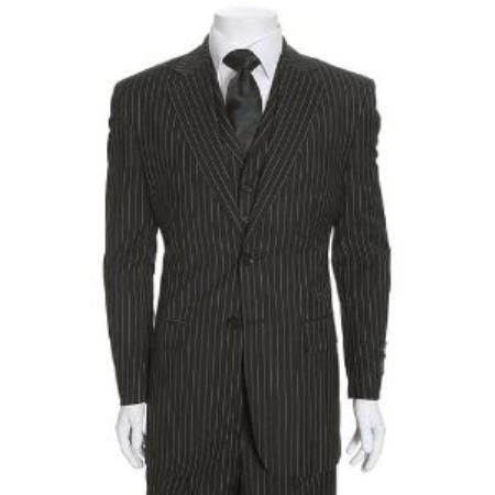SKU#WE835 Beautiful Mens 2 Button, 3 Piece Black & White Stripe, The   Hills Suit $175