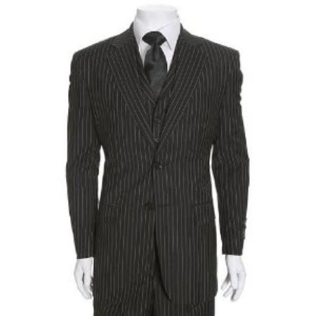 SKU#WE835 Beautiful Mens 2 Button, 3 Piece Black & White Stripe ~ Pinstripe, The   Hills Suit $175