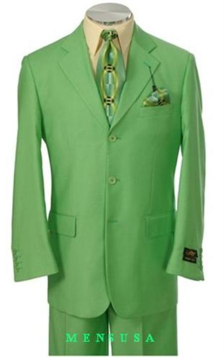 SKU#TNP797 Beautiful Mens Lime Green ~ Apple ~ Neon Bright Green 3 Button Dress With Nice Cut Smooth Soft $165