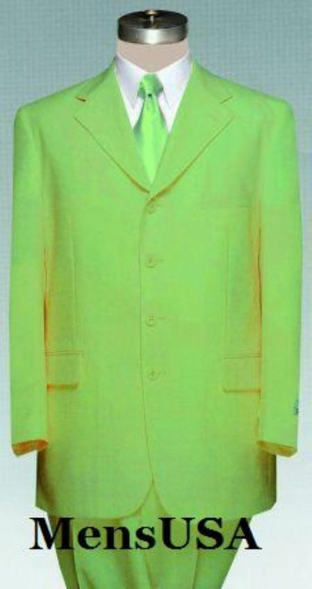 SKU#KUC7 Mens Lime Green ~ Apple ~ Neon Bright Green Pastel Dress With Nice Cut Smooth Soft Fabric (Available in 3 Button Style Jacket + Pants) $139