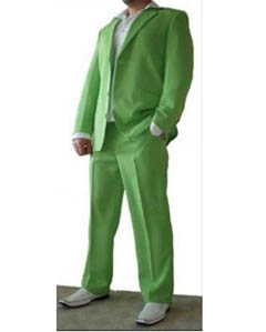 SKU#TNP797 Beautiful Mens Lime Green ~ Apple ~ Neon Bright Greene 3 Button Dress With Nice Cut Smooth Soft $165