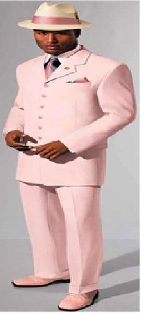 SKU#MUACA77 Beautiful Mens Pink 4-5 Button Dress With Nice Cut Smooth Soft Fabric Not Long $139