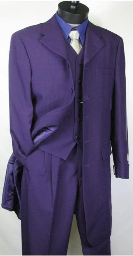 SKU#758TA Beautiful Mens Purple Longer Fashion Dress With Nice Cut Smooth Fabric Vested $139