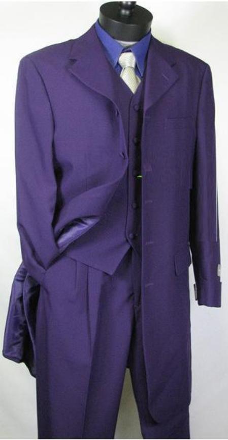 SKU#758TA Beautiful Mens Purple Longer Fashion Dress With Nice Cut Smooth Fabric Vested $139