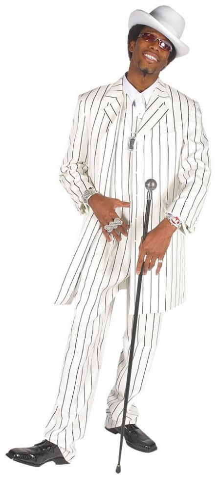 SKU#ZTN909 Beautiful Mens Vested White & Bold Black Pinstripe Gangester Zoot Suit
