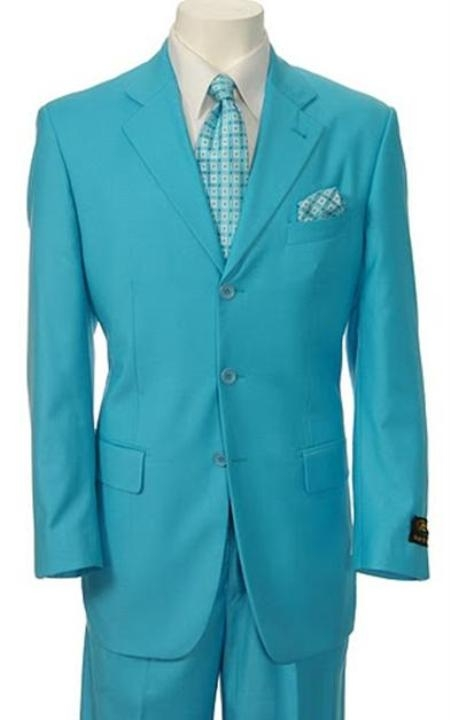 SKU# TNP707  Mens Turquoise ~ Light Blue Stage Fashion Dress With Nice Cut Smooth Soft Fabric Available in 2 Buttons $175