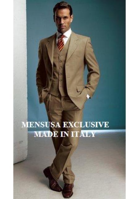 SKU# ITG827  Beautiful Unique Gold/Bronz/Carmel 3 Pieces High Quality Vested Mens Suits $175