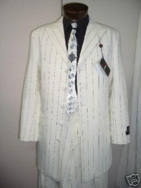 SKU#TL7155 Beautiful White & Navy Blue Pinstripe 5 ButtonSuits $165