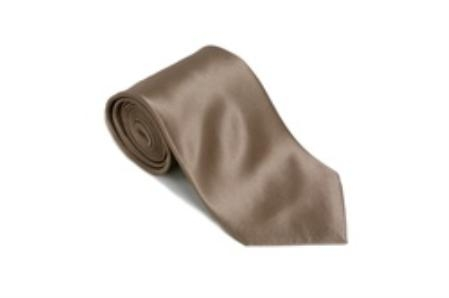 SKU#PW116 Beaver 100% Silk Solid Necktie With Handkerchief $29