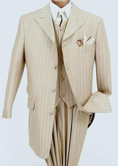 MF2704 Beige~Sand~champaign Shadow Stripe Ton on Ton Peak Lapel Vested Suit Wide Leg Pants $159