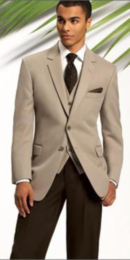 SKU#MASH2 Beige~Tan 2 Button Jacket & Vest + Brown Pants Wedding Suit(As Seen in Wedding Magazines) $175