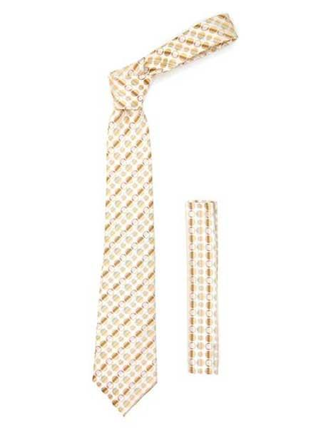Polkadot Stripe Fashionable Necktie With Handkerchief Set Beige
