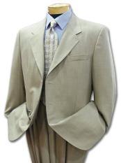SKU# UK98 Mens Khaki Light Tan ~ Beige ~Sand~Stone 3 button Cool Light Weight Jacket + Pants