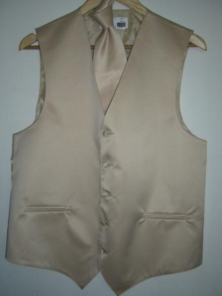 BEIGE (CHAMPANE) DRESS TUXEDO WEDDING Vest ~ Waistcoat ~ Waist coat& TIE SET Buy 10 of same color Tie For $25 Each