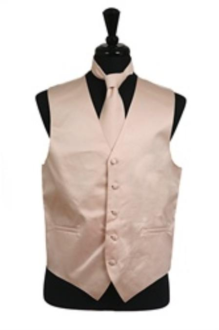 Dress Tuxedo Wedding Vest ~ Waistcoat ~ Waist coat Tie Set Beige Buy 10 of same color Tie For $25 Each