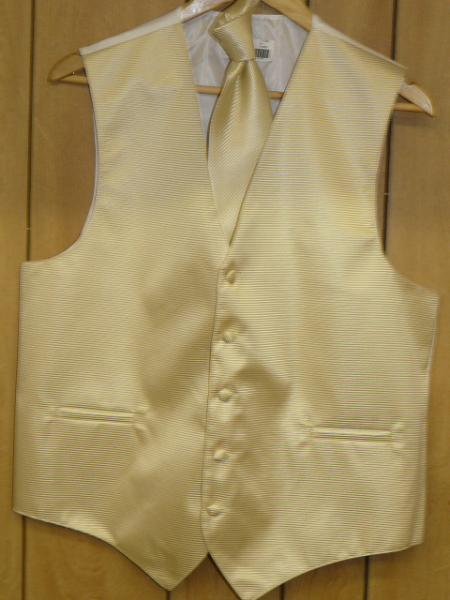 Beige GroomsmenDress Tuxedo Wedding Vest ~ Waistcoat ~ Waist coat  & Tie set Buy 10 of same color Tie For $25 Each